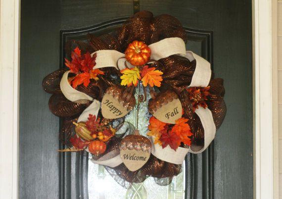 Happy Fall Wreath by hgab129 on Etsy, $65.00
