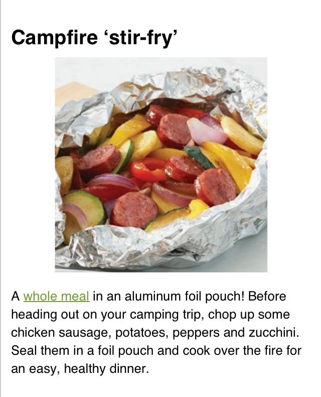 Camping food; foil meals