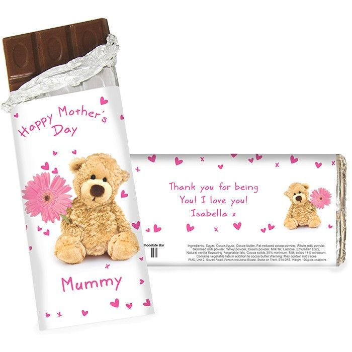 Teddy Flower Chocolate Bar. This Teddy Flower Chocolate Bar can be personalised. £5.99 Free UK Delivery