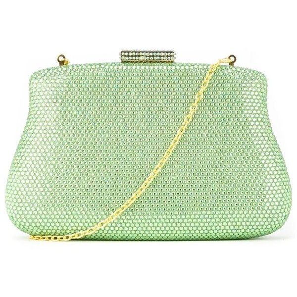 Serpui embellished clutch bag found on Polyvore featuring polyvore, women's fashion, bags, handbags, clutches, embellished handbags, green handbags, embellished purses, green purse and green clutches