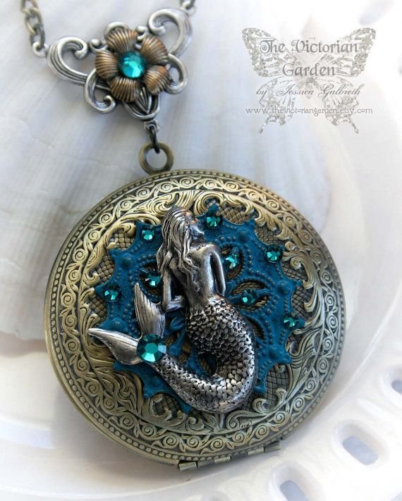 A MERMAID'S TALE fantasy mermaid locket, large antique brass locket necklace with patina accents, gift boxed