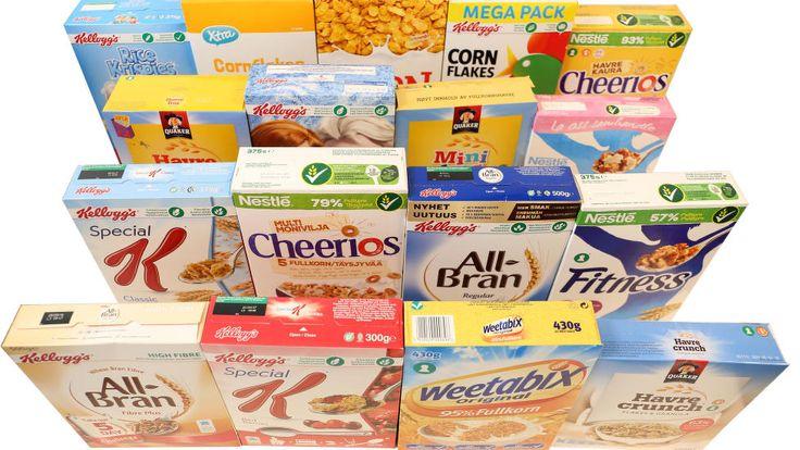 STORE FORSKJELLER: Sukker og fibernivåene varierer veldig, kun to av disse får terningkast seks.