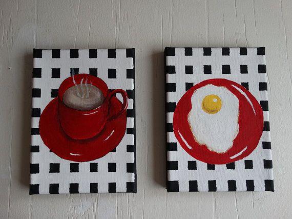 Kitchen Wall Art Pair Of 5x7 Paintings Cottage Kitchen Farmhouse