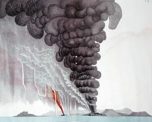 The eruption of the Santorini volcano, illustration from Etudes sur les Volcans by the artist, engraved by Druck and Arnold, 1881  (after) Schmidt, Julius or Jules