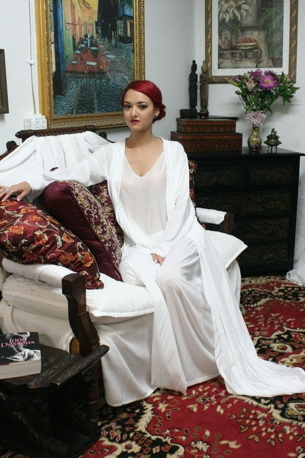 Pyjama en soie blanc vêtements de nuit lune de miel mariage