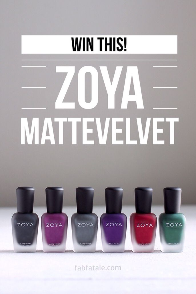 I just entered to win the soon to be released Zoya MatteVelvet collection at http://www.fabfatale.com/2014/10/zoya-mattevelvet-swatches/ #zoya #zoyamattevelvet #giveaway