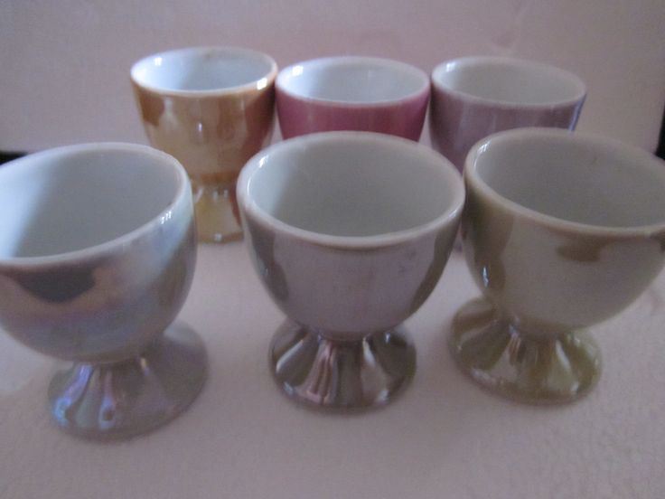 Set Six Coloured Egg Cups  Vintage Harlequin  Lusterware Egg Cups,   Porcelain. Mid Century Modern Egg Cups by Yesterdayshome on Etsy