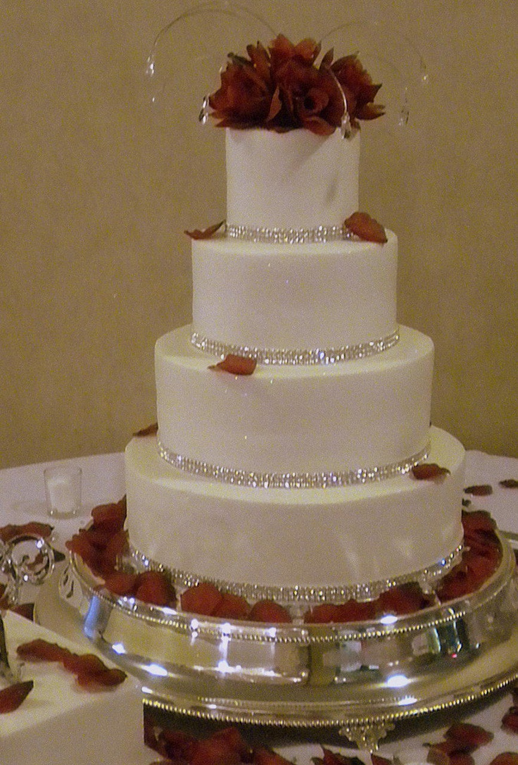 wedding cakes with red roses and bling rhinestone wedding cake with roses wedding 26098