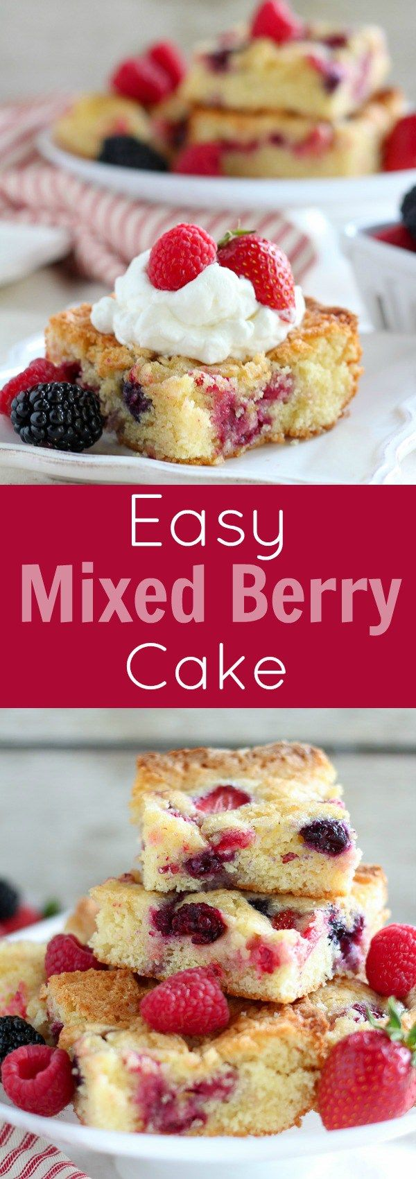 Easy Mixed Berry Cake - A tender vanilla cake flavored with a touch of almond extract and filled with fresh berries. This will be your go-to summer dessert! (Mix Berry Crisp)