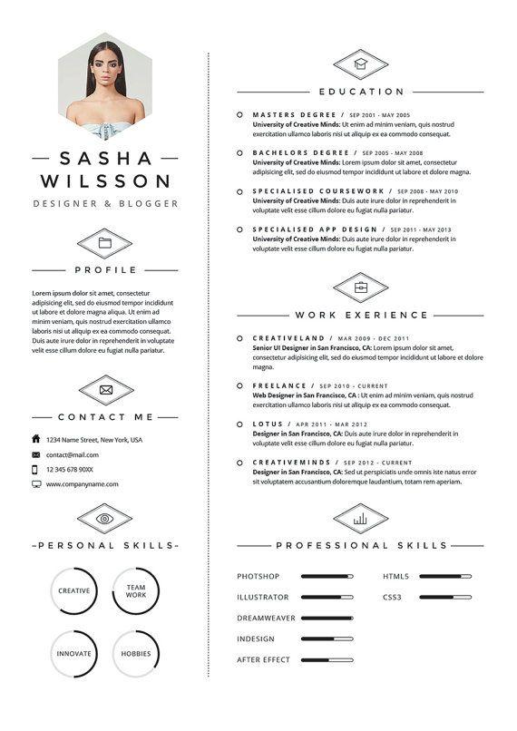 Resume CV Design Cover Letter Template Instant by OddBitsStudio