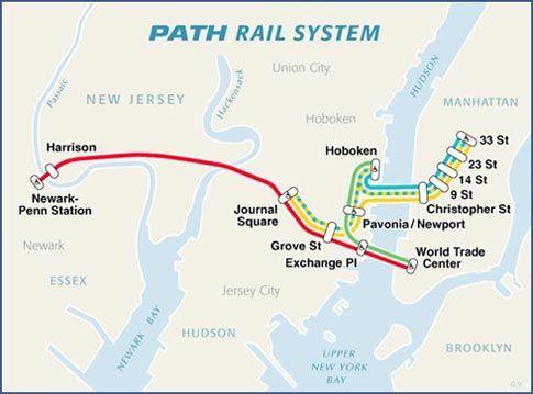 PATH Train Rail Map New Jersey Pinterest Paths Jersey City - New jersey new york map