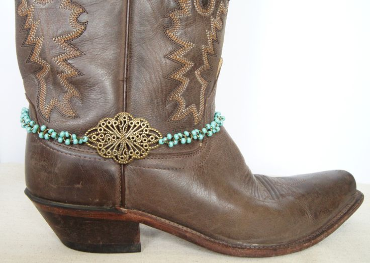 Turquoise and Bronze Boot Jewelry