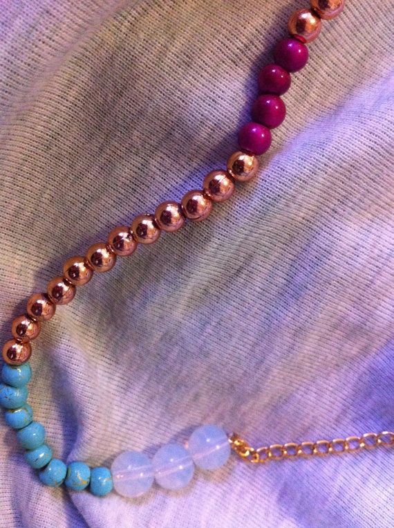 Long bronze and gold colourful bead and by SapphiresandSilver, $24.99