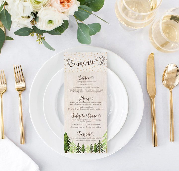 ♥ RUSTIC CHIC MENUS With this menu design, you can have it all! A glam pink and gold color scheme is the perfect compliment to the watercolor painted trees and rustic wooden textures. #christmas #wedding #fashion #style #love #art #diy