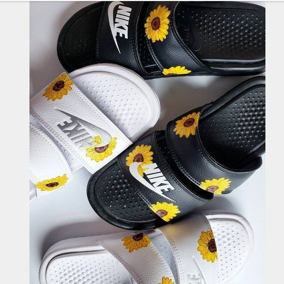 Custom Sunflower Nike Slides, #Custom