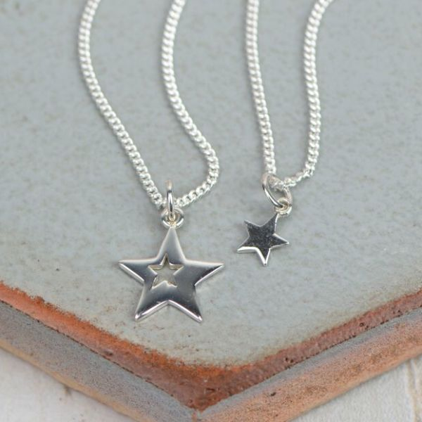 Me And My Mummy Silver Stars Necklace
