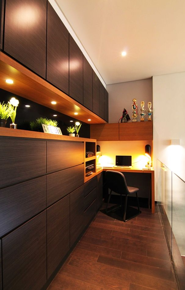 Clearwater Residence   Home Office Workstation Design With Interesting Wall  Design