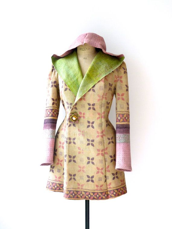 kantha quilt jacket - hooded kantha coat - size medium