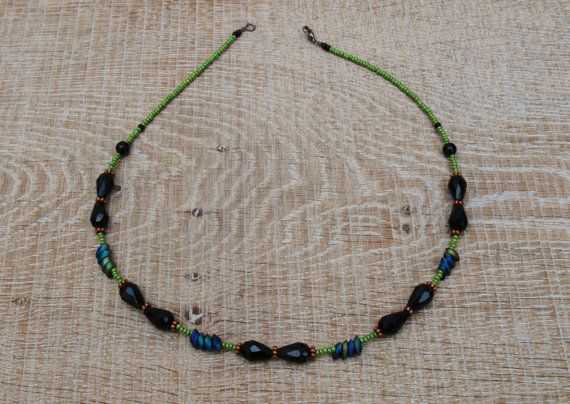 Chic handcrafted jet black and spring green necklace  by BijoubeadsLondon £23.00