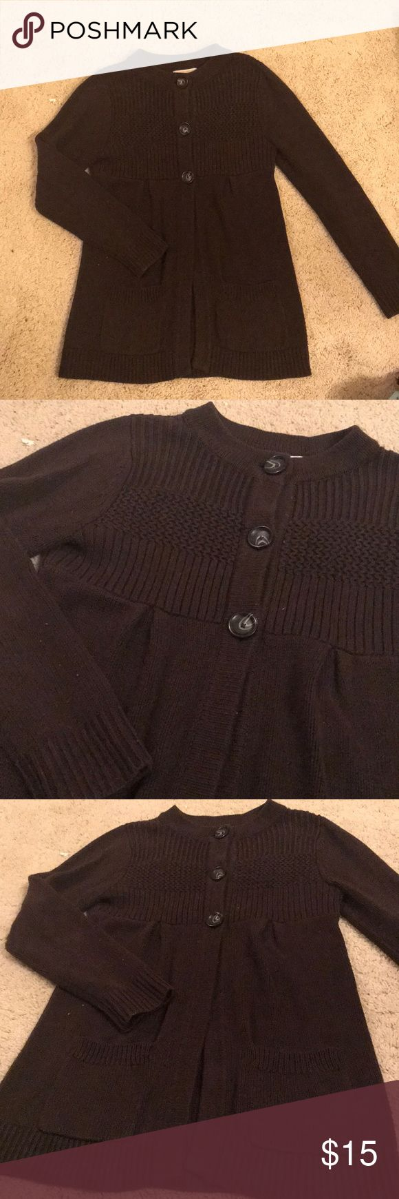 Michael Kors Chunky Knit Sweater Chocolate Brown color - size medium. Long button up Chunky Knit Michael Kors Sweater with front pockets. Perfect with jeans and brown boots! 60% cotton/40% acrylic material. Michael Kors Sweaters Cardigans
