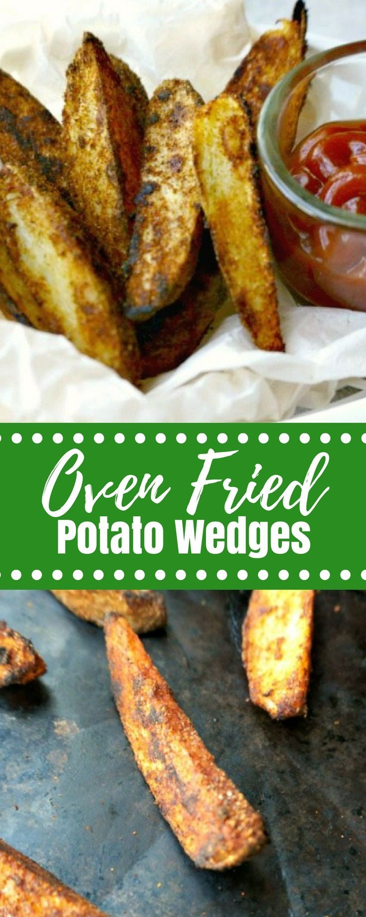 Oven Baked Potato Wedges: Wedges of thickly sliced potatoes that have been coated with a special seasoning blend and and then  oven fried for a crisp exterior and perfectly tender filling on the inside. This is my healthy spin on a fried classic! #sidedish #potatoes #fries via @amindfullmom