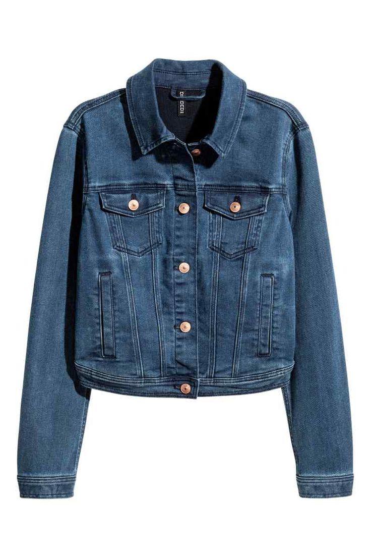 Джинсовая куртка суперстретч - Темно-синий деним - Женщины | H&M RU