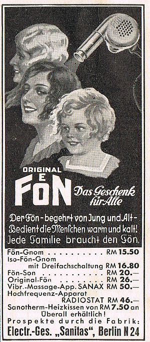 BERLIN, Werbung 1935, Fabrik Sanitas Fön Haartrockner Reklame (14) Werbeanzeige…