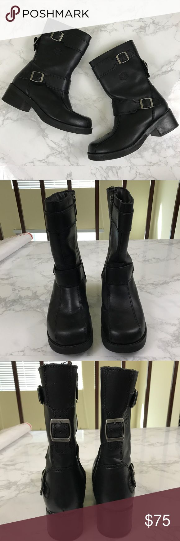 Vintage Harley Davidson Leather Black Boot Vintage Harley Davidson Motorcycle boots  * Size 6.5- Fits true to size * Length goes up to mid calf * In excellent condition; only have been worn once or twice. * Genuine leather Harley-Davidson Shoes