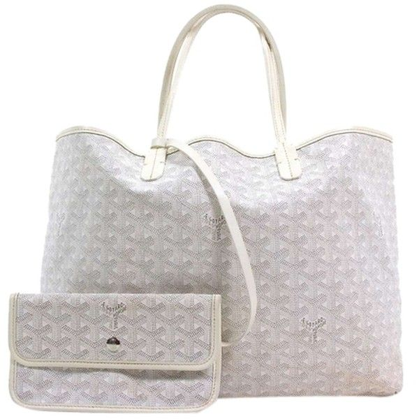 Pre-owned Goyard Saint Louis Pm White Tote Bag ($1,520) ❤ liked on Polyvore featuring bags, handbags, tote bags, white, hemp tote bags, goyard tote, shoulder strap purses, hemp handbags et goyard tote bag