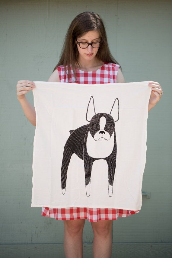 Boston Terrier Tea Towel Printed with Eco Friendly by Gingiber, $18.00