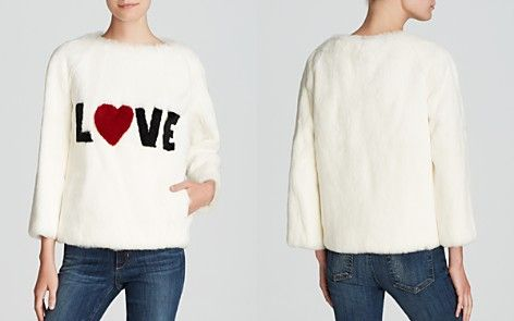 Byte by Giuliana Teso for Maximilian Sheared Rabbit 'LOVE' Pullover - Bloomingdale's Exclusive
