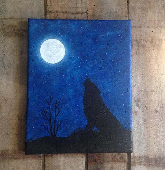 Silhouette art wolf art moon decor silhouette by SunDogArtAndGlass