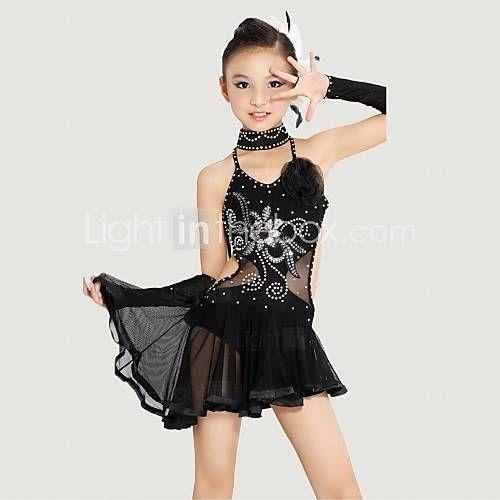 Gyermek - Latin tánc/Teljesítmény - Felszerelések (Fekete/Sárga , Poliészter/Lycra , Kristályok/Strasszok/Virág(ok)) 2015 – $59.99