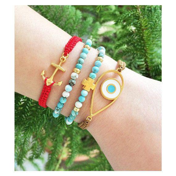 greek jewelry, evil eye jewelry, evil eye bracelet, anchor bracelet, turquoise gemstone, semi precious stone jewelry, turquoise bracelet
