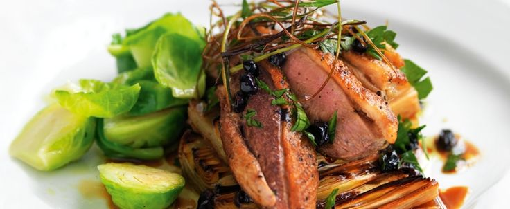Duck breast fillets on poached leeks with currants recipe, brought to you by MiNDFOOD.