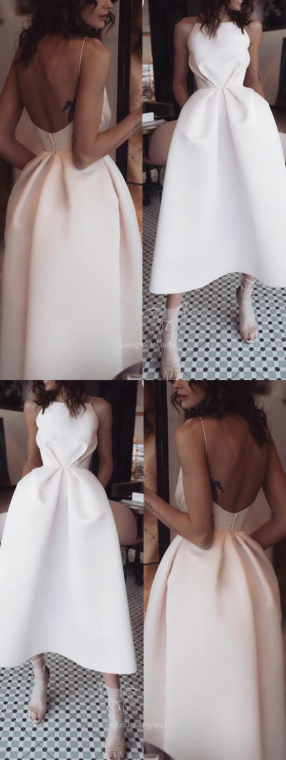White ball gown with spaghetti straps and backless, teelangem party dress, D0671