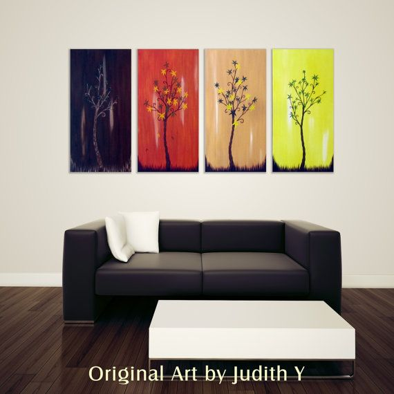 Huge Art Four Season Trees 30x60 Fall decor Abstract by studiox26, $295.00