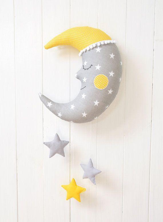 Moon Pillow Moon Cushion Crescent Moon Pillow Star by Jobuko