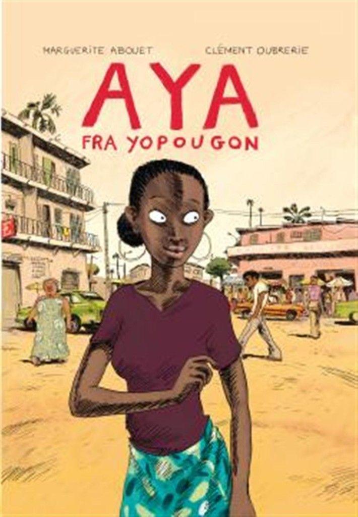 Om boka: Tegneserien AYA handler om ungdom i Elfenbenskysten på 1970-tallet.  Aya og venninnene hennes bor i arbeiderstrøket Yopougon i Abidjan. Aya vil bli lege, men venninnene hennes er mer opptatt av å feste og danse. De later som de lever i en såpeopera, og kaller byen sin for Yop City. Men en dag blir en av jentene gravid, og livet blir snudd på hodet.