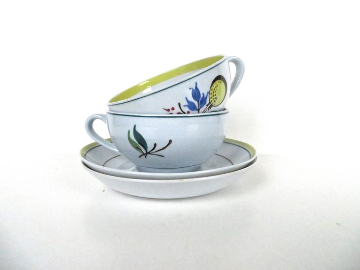 Set Of 2 Vintage Arabia of Finland Windflower Cup and Saucers, Floral Scandinavian Teacup And Saucer Set by HerVintageCrush on Etsy