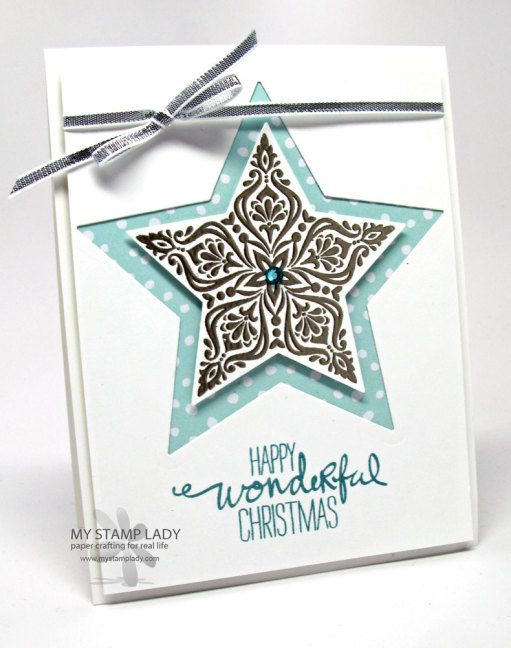 Chris' card: Bright & Beautiful, Wondrous Wreath, All is Calm dsp, Stars framelits, & more. All supplies from Stampin' Up!