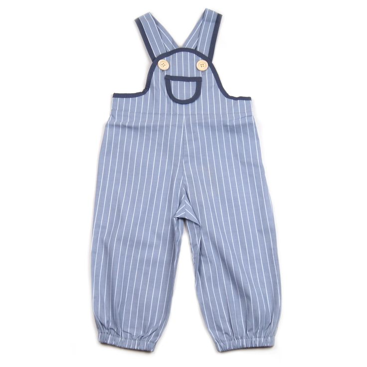 Krutter grey overalls with white stripes, front pocket, elasticised ankle and back, grey cotton bias binding at front and on adjustable straps, with wooden buttons.  100% cotton. Made in Turkey. $67.95 http://www.danskkids.com.au/collections/spring-summer-2015/products/krutter-grey-and-white-striped-overalls