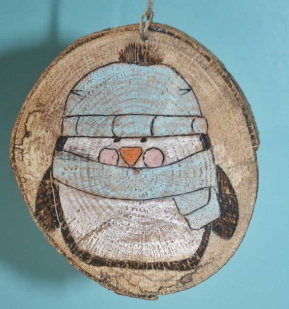 Penguin Christmas Tree Slice Ornament by hippiescreations on Etsy, $10.00