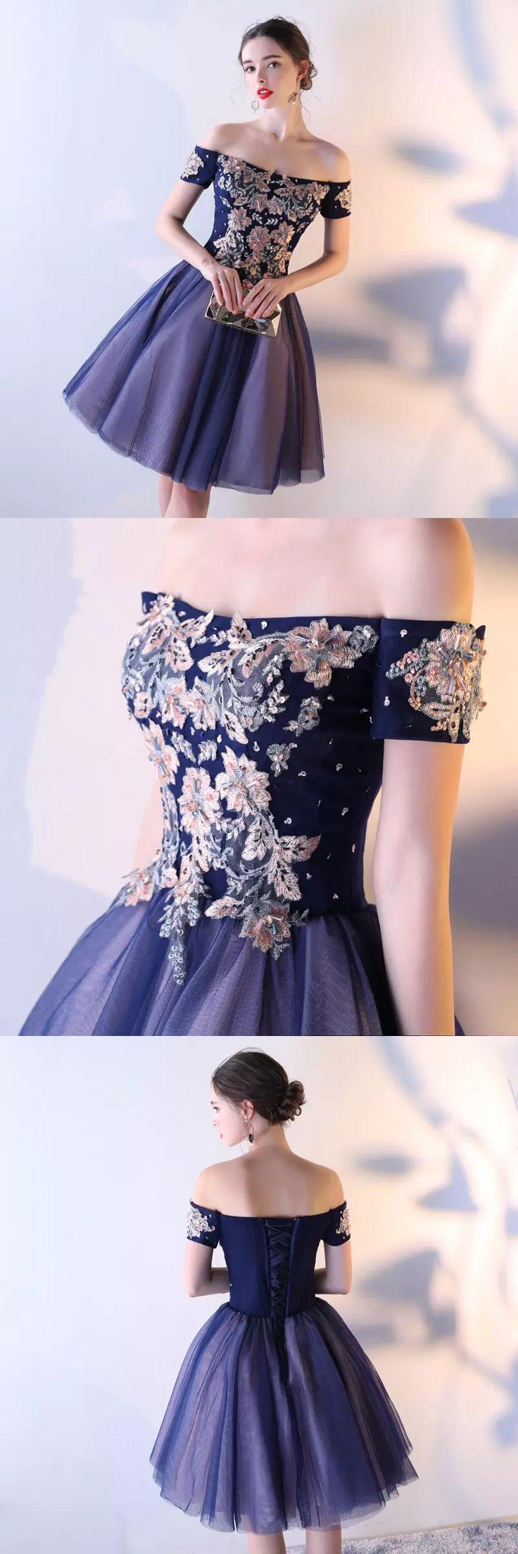 Tulle Homecoming Dress, Off Shoulder Homecoming Dress, Applique Junior School Dress#okbridal.co.uk#homecomingdresses comingdress