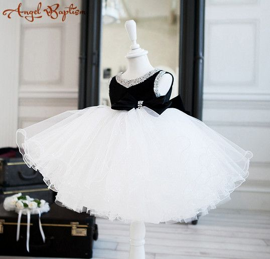 >> Click to Buy << Elegant White and black ball gown tutu flower girl dress baby infant toddler party dress princess beaded bling birthday gown #Affiliate