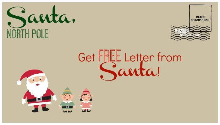 Get a Free Letter from Santa Postmarked from North Pole, send by 12/15! Thanks to the USPS for this fun Christmas Freebie!