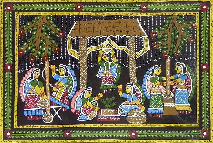 Rural Women Performing Daily Chores - Wall Hanging (Madhubani Folk Art on Hardboard)