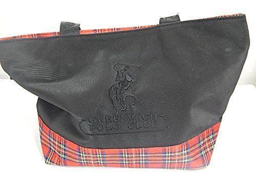Borsa Grande Greenwich Polo Club, Nero/Scozzese Rosso, Shopping Bag