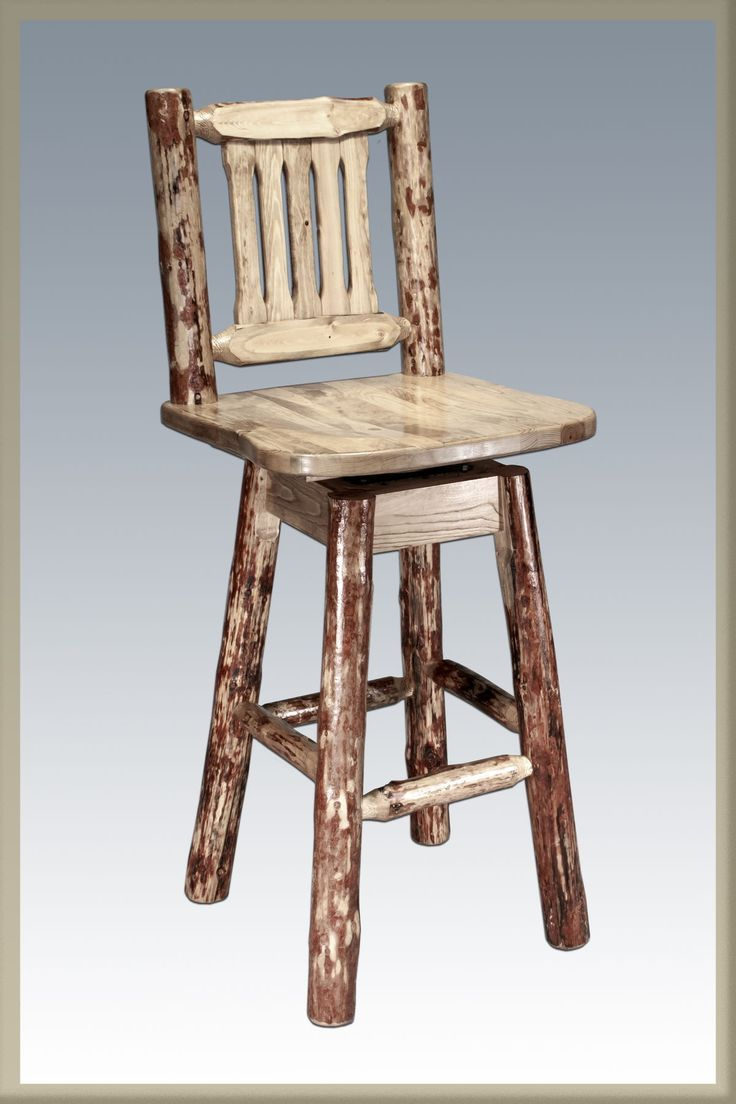 Country crafted wooden chair and stool ebth - Montana Woodworks Glacier Country Collection Barstool With Back And Swivel Ergonomic Wooden Seat