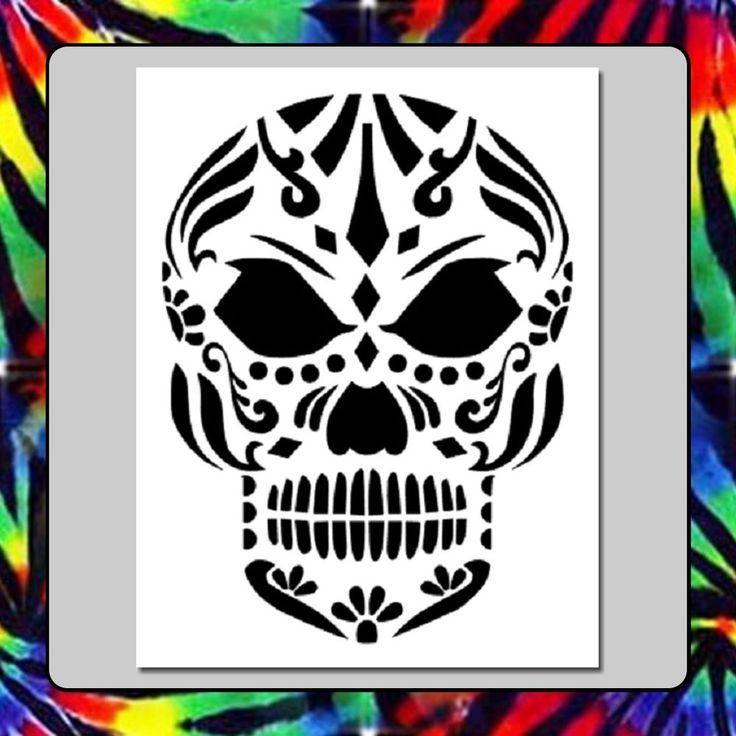 7 x 9 tribal sugar skull face stencil day of the deadmexican halloween death - Mexican Halloween Skulls